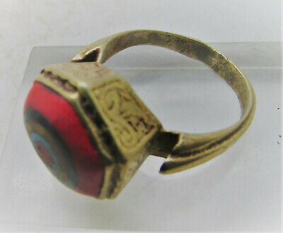 Beautiful Ancient Phoenician Gold Gilded Ring With Mosiac Glass Insert