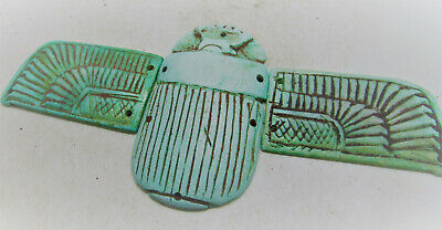 Beautiful Ancient Egyptian Winged Faience Scaraboid With Heiroglyphics