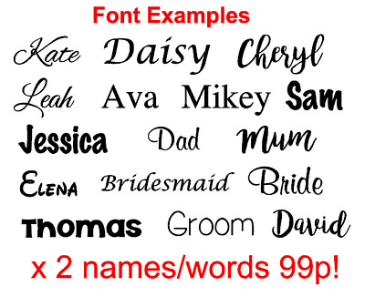 X2 Personalised Vinyl Name Sticker Decal for gifts, crafts glass wedding baubles