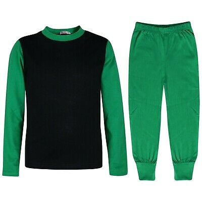Kids Girls Boys Pjs Contrast Green Color Plain Stylish Pyjamas Set Age 2-13 Yrs