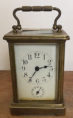 "Brass Case Enamelled Face Alarm Timepiece Carriage Clock 4.5""H 3""W 2.5""D"