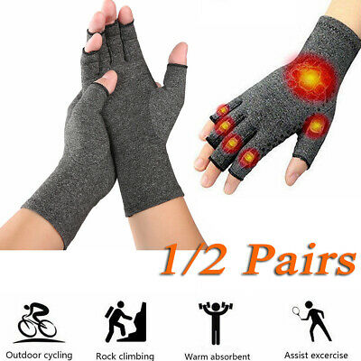 UK Anti Arthritis Hand Compression Gloves Copper Fingerless Therapy Circulation