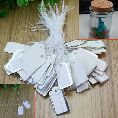 500x Strung Price Ticket Tags Labels Retail Silver Border Clothing Sticker Tie