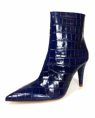30504f285bc82 ZARA NEW SNAKESKIN Print Leather High-Heel Ankle Boots Blue 35-42 ...