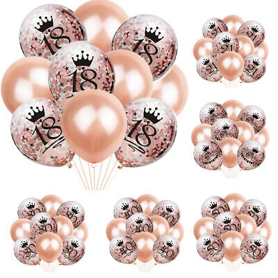 New Rose Gold 21st 18 30 40 50 60th Birthday Balloons Crown Party Decor UK