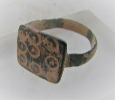 Ancient Anglo Saxon Bronze Ring With Evil Eye Motifs Authentic
