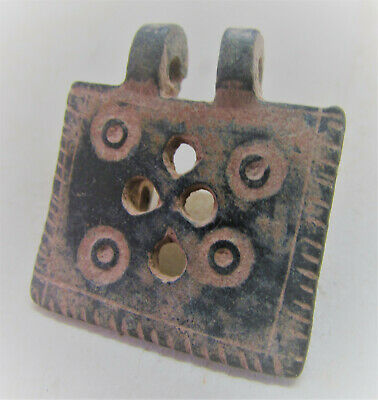 Circa 100-400Ad Ancient Roman Bronze Amulet With Ring And Dot Motifs Wearable