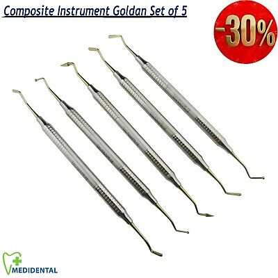 NEW Dental Composite Instruments Gold Tip Hollow Handle Filling  Pluggers Kit