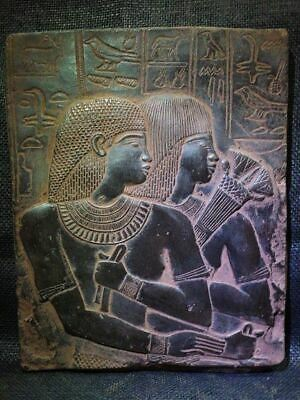 Egyptian Antiques Antiquities Ambassador Maya & Wife Stela Relief 1387-1350 Bc