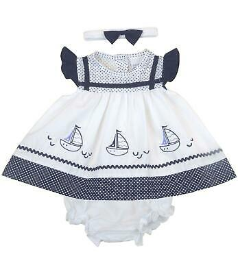 BabyPrem Baby Girls Navy Nautical Sailor Summer Dress Set Outfit 0-3  3-6  6-9m