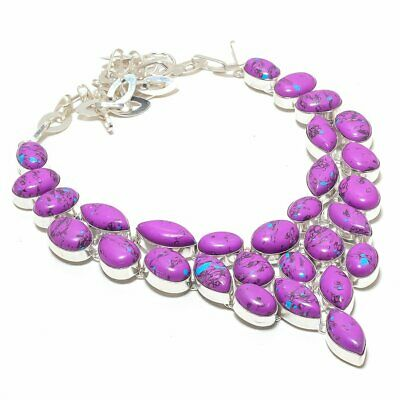 Purple Turquoise Gemstone 925 Sterling Silver Jewelry Necklace 18""