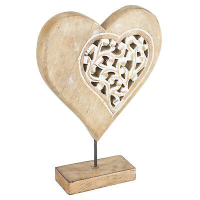New Vintage Style Wooden Carved Standing Heart Ornament Shabby Chic Rustic Look