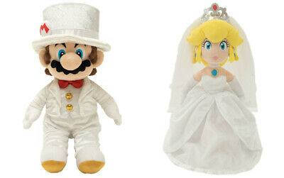 "Super Mario Bros Mario Groom & Peach Bride Wedding Plush Set 14"" Little Buddy"
