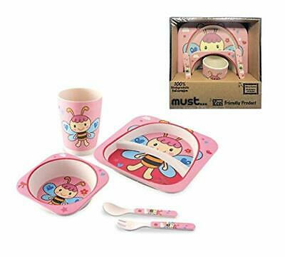 Kids Bamboo Dinner Breakfast Eco Dish Set, 5 Pcs - Plate Bowl Pink Butterfly,