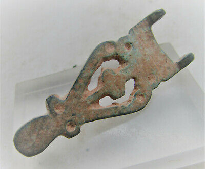 Scarce Circa 1000Ad Viking Era Norse Plate Type Brooch Dragon Head