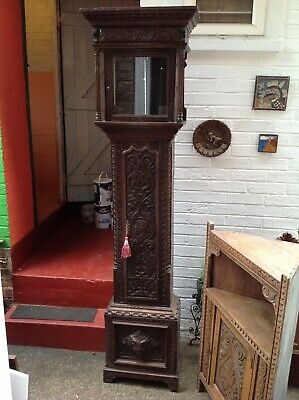 Antique carved oak grandfather clock case  good condition