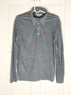 Vintage Men's Small S/M 1970s 1980s Long Sleeve Rugby Polo Shirt fleece