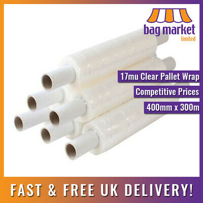 12 Rolls x Strong Clear 400mm x 300m! Pallet Wrap | Stretch/Cling/Shrink/Film