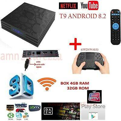 Smart TV BOX T9 PRO Android 4GB RAM 32GB 4K IPTV GPU 5 CORE QUAD WIFI dazN TASTI