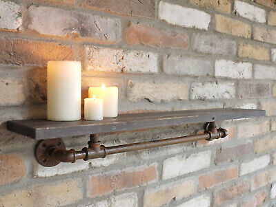 Antique Industrial Pipe Shelf Storage Shelving Unit Coat Hanging Wall Hooks 76cm