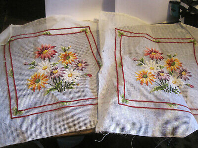 VTG Needlepoint Canvases-Partially Worked-BRIGHT DAISY FLORAL- Set of 2