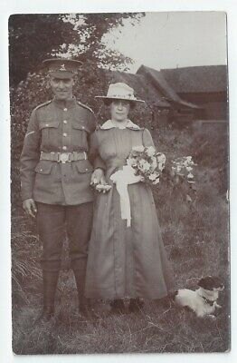 WW1 RWK Royal West Kent Regiment Lance-Cpl Wife Dog RP PC Great Totham Witham