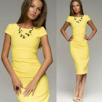 Women Casual Solid Color Short Sleeve O Neck Slim Fit Midi Bodycon Dress shan
