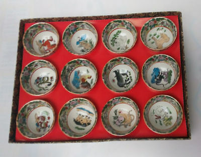 Collectible Decorated Old Handwork Porcelain Painted Chinese 12 Zodiac Cup