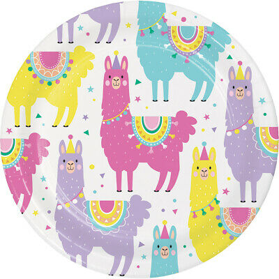 """8 Cactus 9/"""" Square Dinner Paper Plates Western Fiesta Llama Lunch Birthday Party"""
