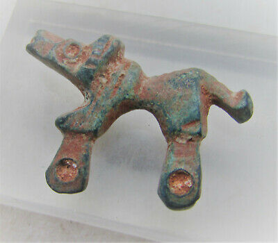 Finest Circa 300-400Ad Roman Era Legionary Bronze Hound Pendant Authentic