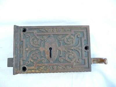 Antique Iron Patterned Door Lock Brass Lever Rim Architectural No Key or Keep