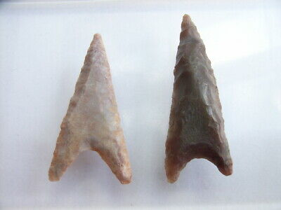 2 Ancient Neolithic Flint Arrowheads, Stone Age, VERY RARE !!  TOP !!