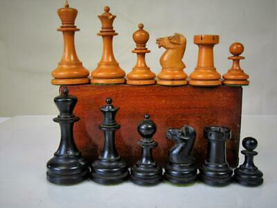 ANTIQUE WEIGHTED CHESS SET ENGLISH NON JAQUES  KING 87  mm PLUS  BOX  NO  BOARD