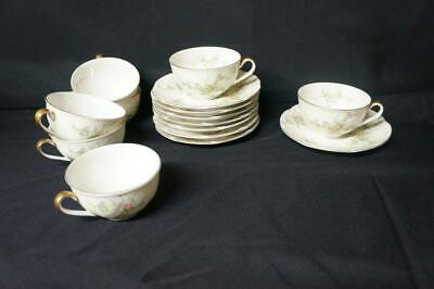 7 Vintage Theodore Haviland NY Rosalinde 7 Cups and 8 Saucers