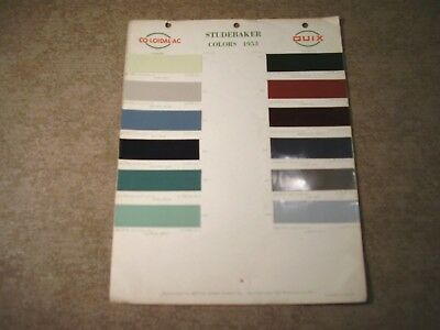 1953 STUDEBAKER 1 Page Color Chip Paint Sample Chart ~ Co-Loidal-Ac Quix