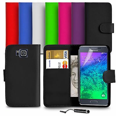 Premium Leather Wallet Case Cover For Samsung Galaxy Alpha With Mini Stylus