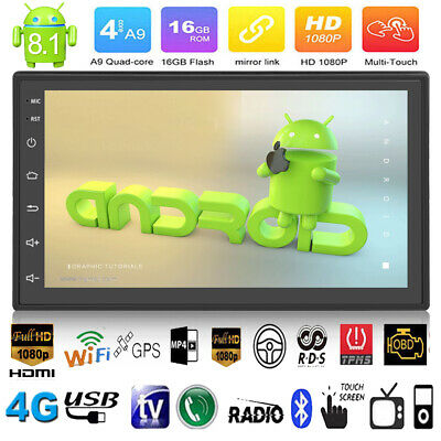 2DIN 7in Quad Core Android 8.1 WIFI GPS Navi Car Stereo MP5 Player FM/AM Radio