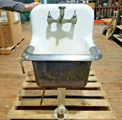 Vintage Cast Iron Porcelain Mop Sink 18 x 22 Stainless Lip Kitchen Antique Deep