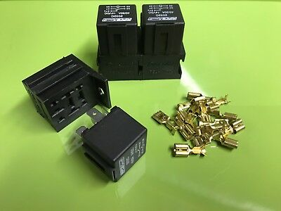 3 x 30/40 Amp 5 Pin Changeover Relays with holders and terminals