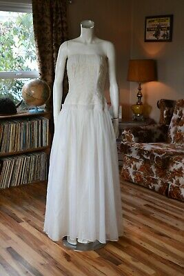 Vintage 50s Embroidered Chiffon taffeta Strapless Gorgeous WEDDING gown dress M