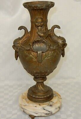 Antique Gilt Metal Vase with Dolphin Handles Shell & Bird Figure on Marble Base