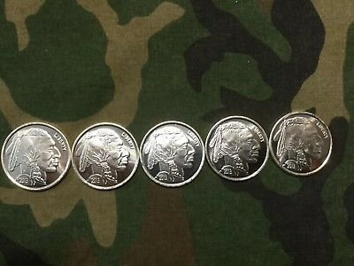 5- 1oz. Silver Bullion Rounds .999 Fine 2013 Indian Head Buffalo Rounds (b)