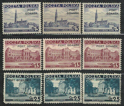 Poland Fischer Ii # 29 - 31  Polish Post Office ;;port Gdansk '' Hinged  Stamps