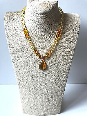 Natural Genuine Baltic Amber lemon round beads necklace with pendant 18gr. #332