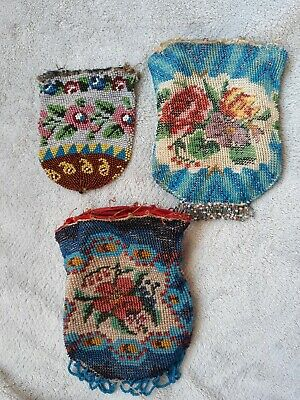 3 antike Perlentaschen antique beaded purse