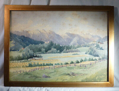 Antique Alpine Landscape Watercolour Painting Signed A T Robertson 1927 Framed