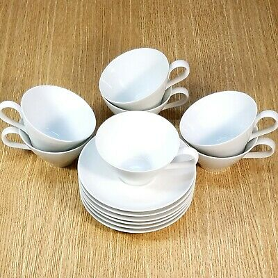 NORITAKE Cook 'n Serve China ANGELA #107 CUPS & SAUCERS (7 ea.)  *MINT - READ*