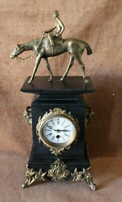 Ornate Antique / European Style Marble Clock Jockey on Horse