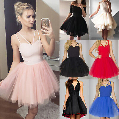Women Strappy Sleeveless Mini Tulle Tutu Short Dress Party Prom Evening Cocktail