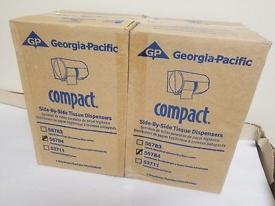 2 Georgia Pacific Side By Side Tissue Dispenser 56784 Translucent Smoke Nib New